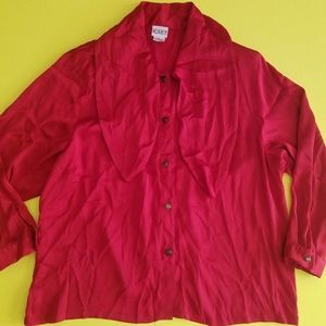Plus Size 24W Koret Button Red top Blouse Shirt